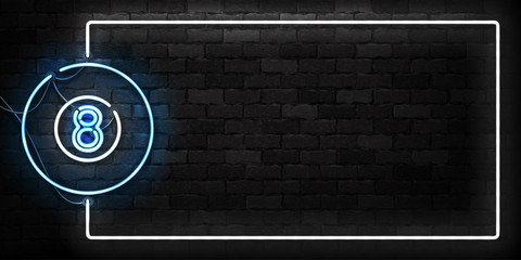 Vector realistic isolated neon sign of Billiards frame logo for decoration and covering on the wall background. Concept of game sport and billiards club.
