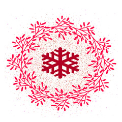 Flat vector icon for social networks and stories. Icon wreath and snowflake on snow pattern isolated.