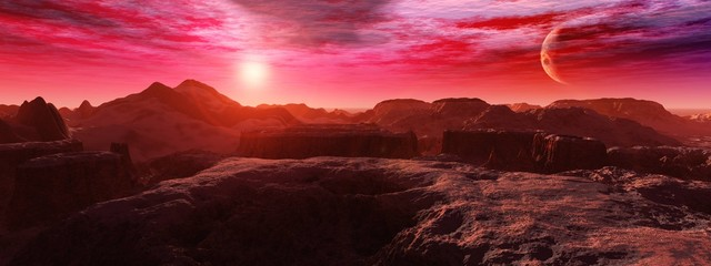 Deurstickers Rood paars alien landscape, a panorama of a surface of another planet at sunrise,