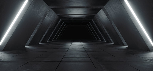 Alien Sci Fi Modern Futuristic Minimalist Empty Dark Concrete Corridor Tunnel With White Glow Light Empty Space For Text Science Fiction Background 3D Rendering