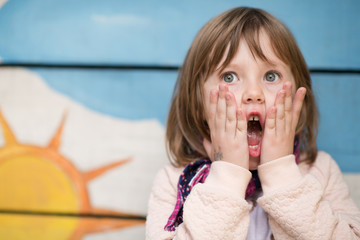 cute little girl  having fun in playground