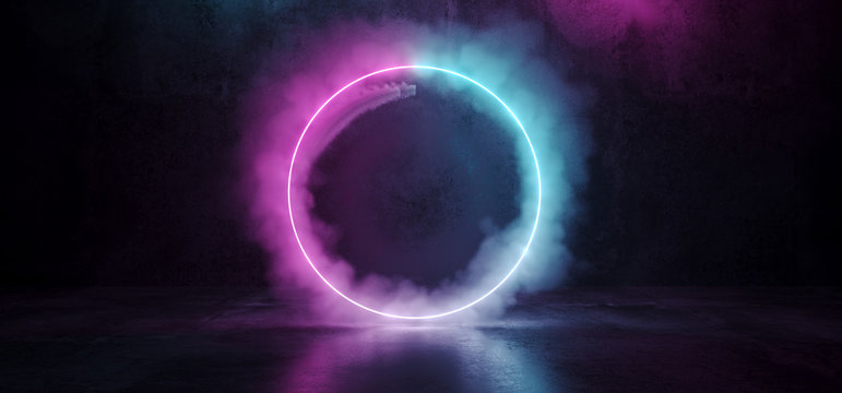 Sci Fi Modern Futuristic Smoke Neon Circle Shaped Tube Gradient Purple Pink Blue Glow Light In Dark Grunge Concrete Empty Room Reflection Background 3D Rendering