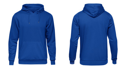 Blank blue mens hooded sweatshirt long sleeve with clipping path, mens hoody with hood for your design mockup for print, isolated on white background. Template sport winter clothes