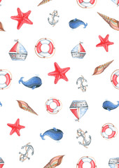 watercolor pattern on a marine theme