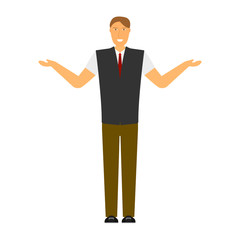 The image of a joyful man with arms outstretched on the sides. Isolated flat illustration on white background. Vector.
