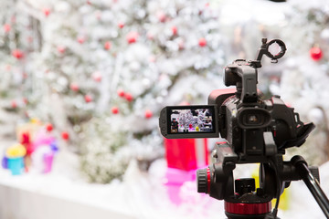 camera show viewfinder image catch motion in interview or broadcast Christmas Day, catch feeling, stopped motion in best memorial day concept.Video Cinema From dslr camera.video cinema production .