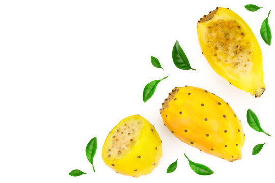 yellow prickly pear or opuntia isolated on a white background with copy space for your text. Top view. Flat lay