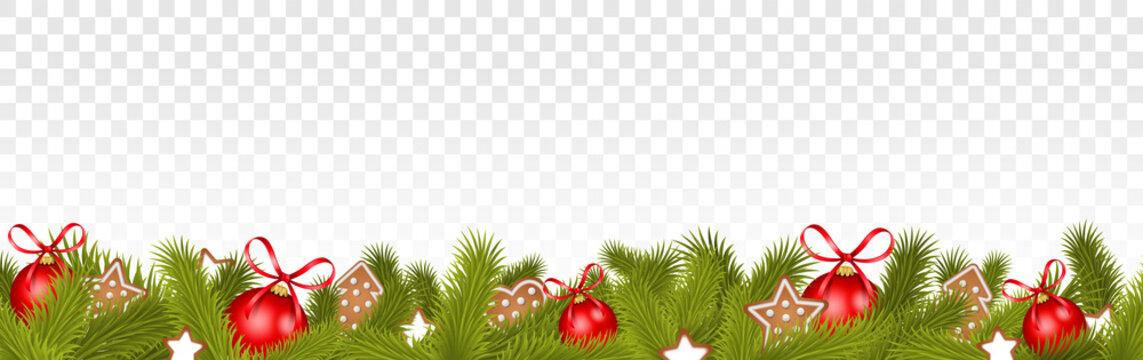 Weihnachten Rahmen mit Weihnachtsschmuck und Tannenzweigen