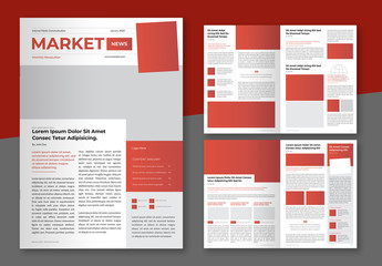 Business Newsletter Layout with Red and Dark Grey Accents