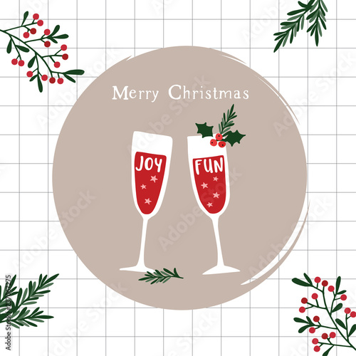 merry christmas happy new year greeting card invitation two champagne wine glasses