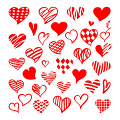 Stylized hand-drawn set of red hearts. Saint Valentine vector collection.