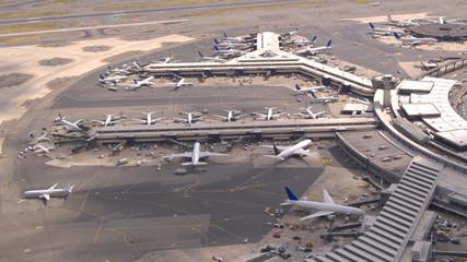 AERIAL: New York Newark International airport terminals and boarding apron