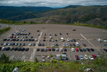 A parking lot in the mountains