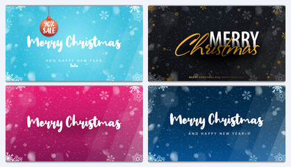 Merry Christmas and Happy New Year. Set of Backgrounds with snowflakes. Vector illustration.