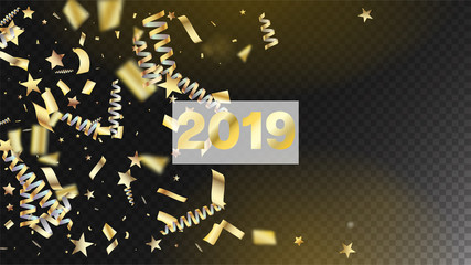 2019 Gold Confetti, Falling Stars, Streamers, Tinsel. Horizontal Shiny Night Sky Background. Cool Premium Christmas, New Year, Birthday Party Holiday Frame. Gold Confetti, Falling Down Stars.