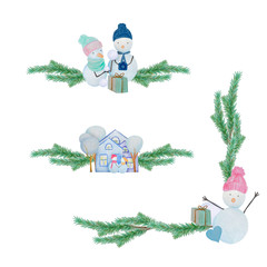 Winter set decor with snowmen and houses painted with colored watercolor pencils