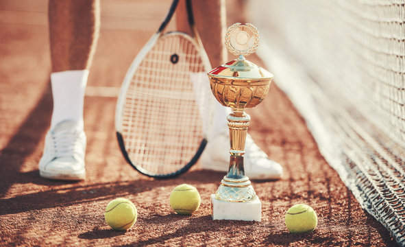 Tennis champion. Tennis player on the court, close up photo. Sport, recreation concept