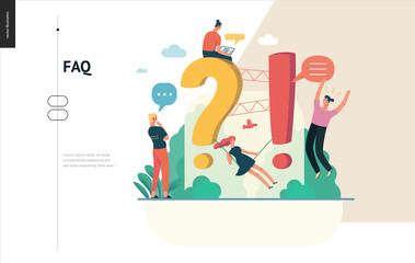 Business, color 1- FAQ -modern flat vector concept illustration of Frequently asked questions People around exclamation and question marks Question answer metaphor Creative web page design template
