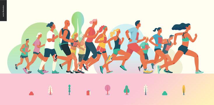 Marathon race group - flat modern vector concept illustration of running men and women wearing summer sportswer. Marathon race, 5k run, sprint. Creative landing page design template, web banner