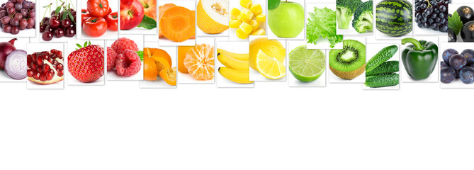Collage of color fruits and vegetables