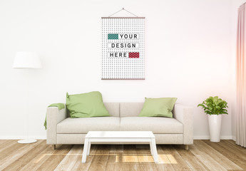 Large Hanging Poster in Living Room Mockup
