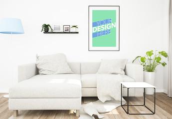 Large Poster Frame in Living Room Mockup