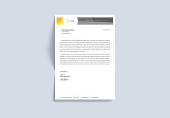 Letterhead Layout with Orange and Gray Accents