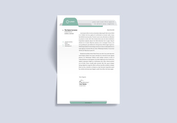 Letterhead Layout with Green and Gray Header