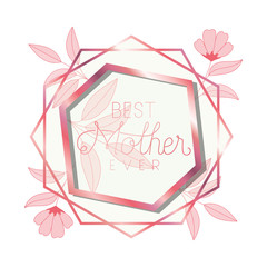 best mother ever with pink frame hexagon