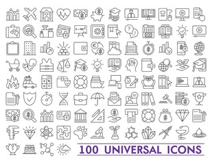 Set of universal icons for web and mobile. Big package of modern minimalistic, thin line icons.