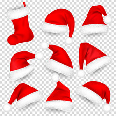Christmas Santa Claus Hats With Fur Set, Sock. Xmas, New Year Red Hat With Shadow. Winter Cap. Vector illustration.