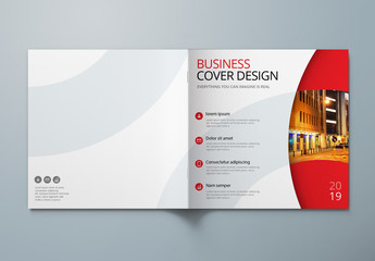 Square Business Report Cover Layout with Circle Elements