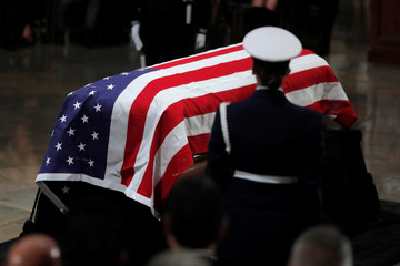 Casket stands in Capitol Rotunda during ceremonies for the late former U.S. President George H.W. Bush in Washington