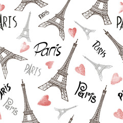 Seamless background with symbols of Paris - Eiffel Tower