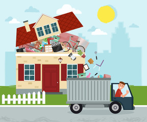 The concept of excessive consumerism. House bursting of stuff. Throwing away things from house. Junk removal. Vector illustration.