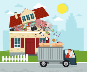 Moving house. Staff moving out of the house to boxes in truck. Vector flat illustration.