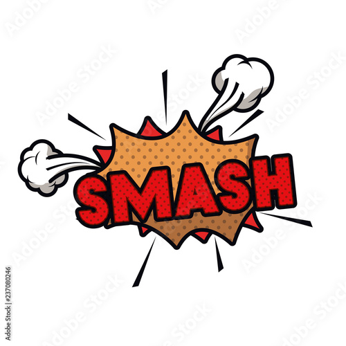 smash comic words in speech bubble isolated icon stock image and