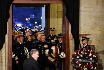 The casket bearing the remains of former US President George H.W. Bush arrives at the US Capitol during the State Funeral in Washington