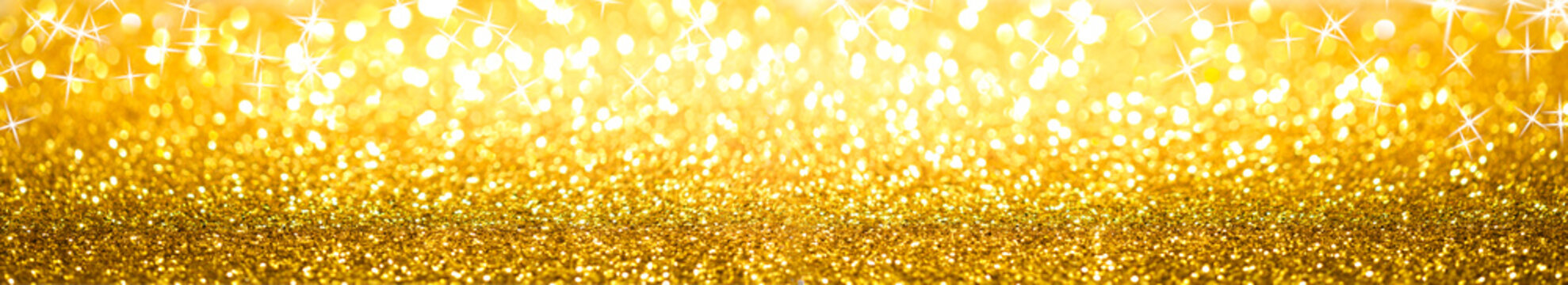 Golden Glitter Background Banner With Sparkles And Bokeh