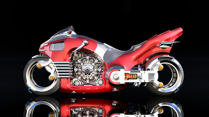 Superbike with chrome engine, red futuristic motorcycle isolated on black background, side view, 3D rendering
