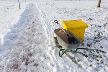 yard keeper working tools to work on slippery sidewalk