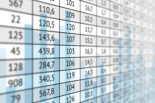 Table with numerical data and graph