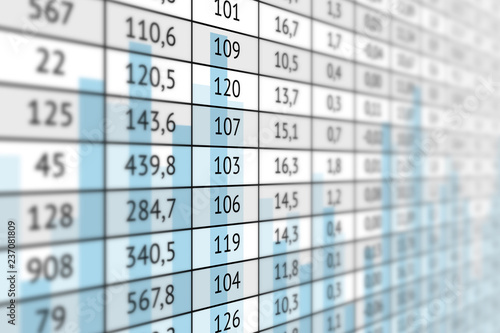 Super Table With Numerical Data And Graph Stock Photo And Royalty Download Free Architecture Designs Scobabritishbridgeorg