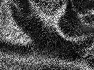 wrinkled rough black leather background