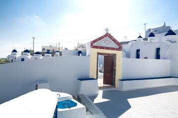Orthodox cemetery on the island of Santorini, Greece. Santorini, Cyclades Islands, Greece, Europe