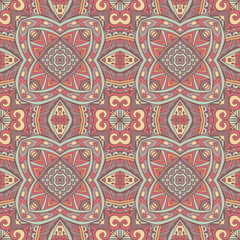 Ethnic geometric tile print. Colorful repeating background texture.