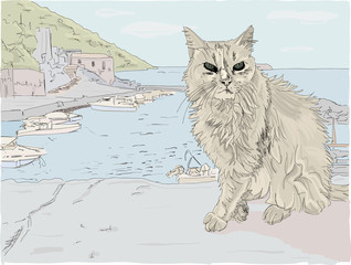 Hand drawn illustration, Close up of a beautiful stray cat on a Greek Island in the Mediterranean, overlooking a fishing village.