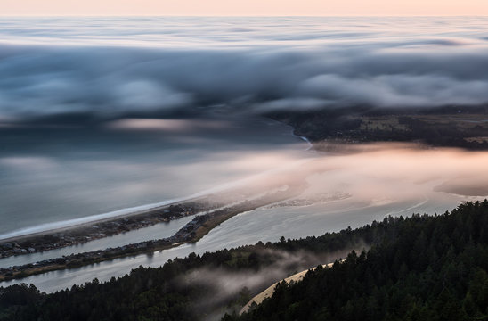 Fog hovering over Stinson beach from mt tam