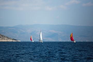 Sailing boats during yacht regatta in the Aegean Sea, Greece.