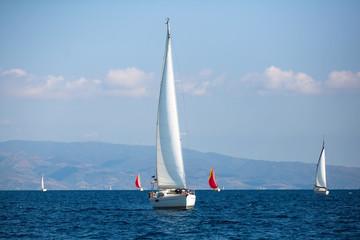 Sailing luxury boats during the yacht regatta in Aegean Sea, Greece.